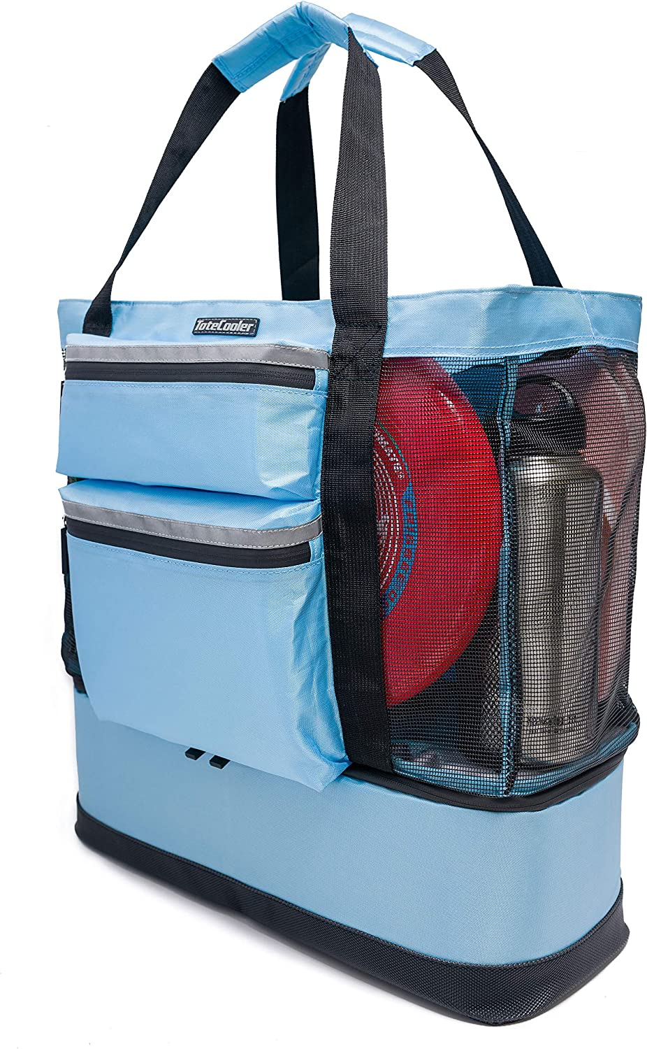 ToteCooler Beach Picnic Mesh Tote Bag with Zipper Top, Dual Internal Sling Bottle Pockets, 3 Exterior Pockets and Insulated Soft Cooler with Anti-Slip Rubber Base Guard