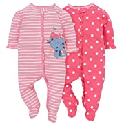 Gerber Baby Girls' 4-Pack Sleep N' Play, Kitty, 3-6 Months