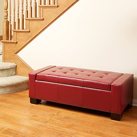 Astounding Christopher Knight Home Rothwell Red Leather Storage Ottoman Bench Gamerscity Chair Design For Home Gamerscityorg