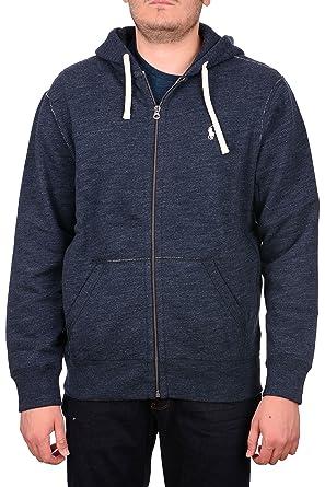 Polo Ralph Lauren Classic Full-Zip Hooded Sweatshirt, BLUE HEATHER (S)