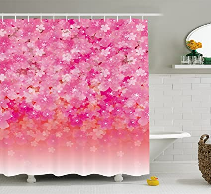 Ambesonne Pale Pink Shower Curtain Cherry Blossom Tree Flowers In Vibrant Tones Spring Beauty Illustration