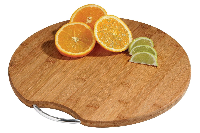 Premier Housewares - Tabla de cortar redonda con asa metálica (bambú), color madera 1104271