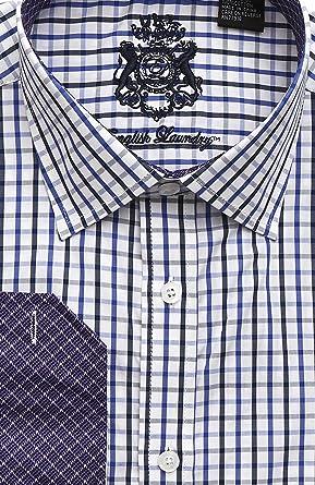 904b35f1e3 Amazon.com: English Laundry White With Navy and Black Dress Shirt ...