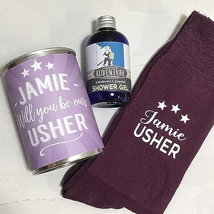 Personalizado Calcetines en una lata Will You por mi día de Usher boda Set de regalo