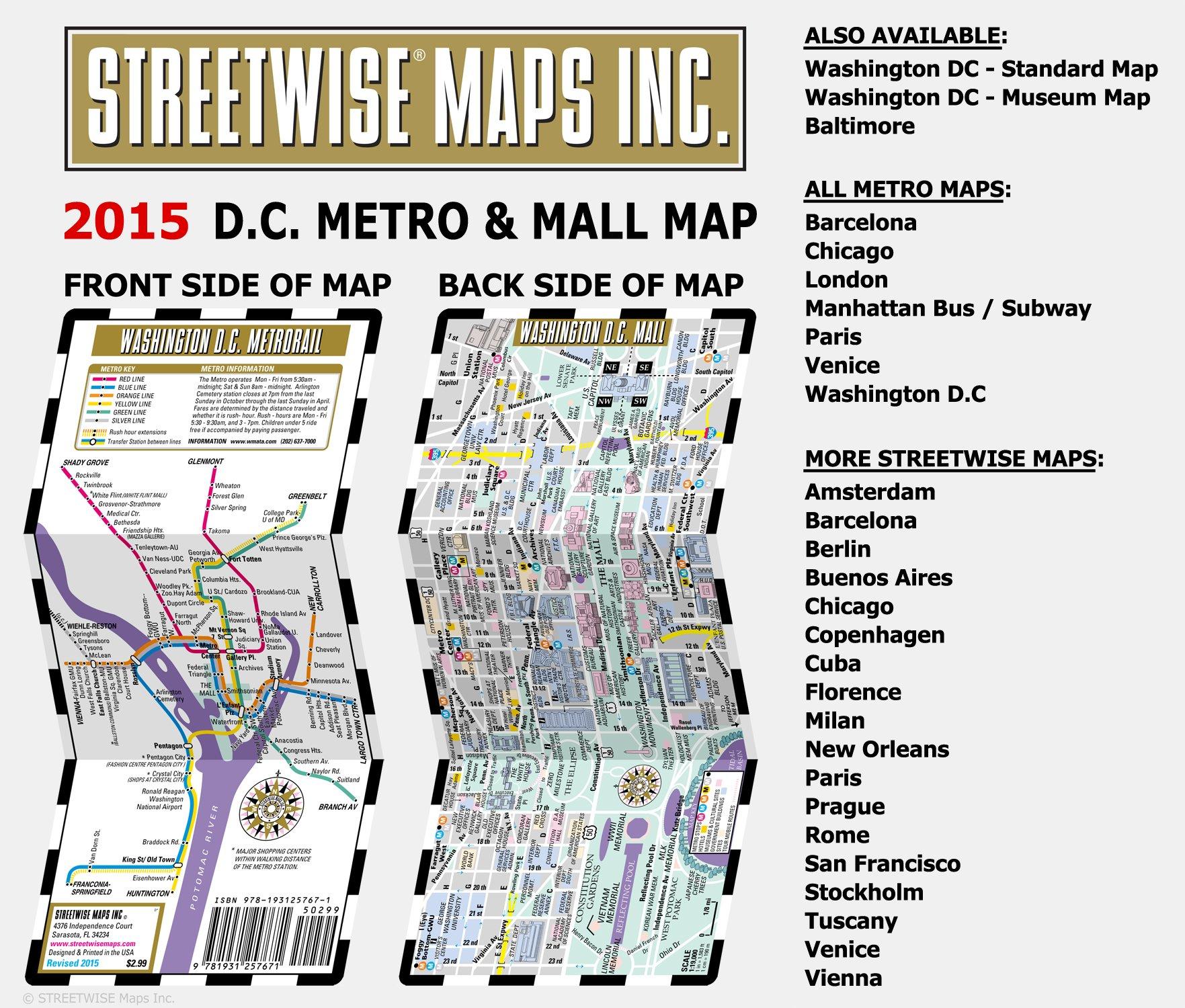Streetwise Washington DC Metro Map Laminated Washington DC - Washington dc map subway
