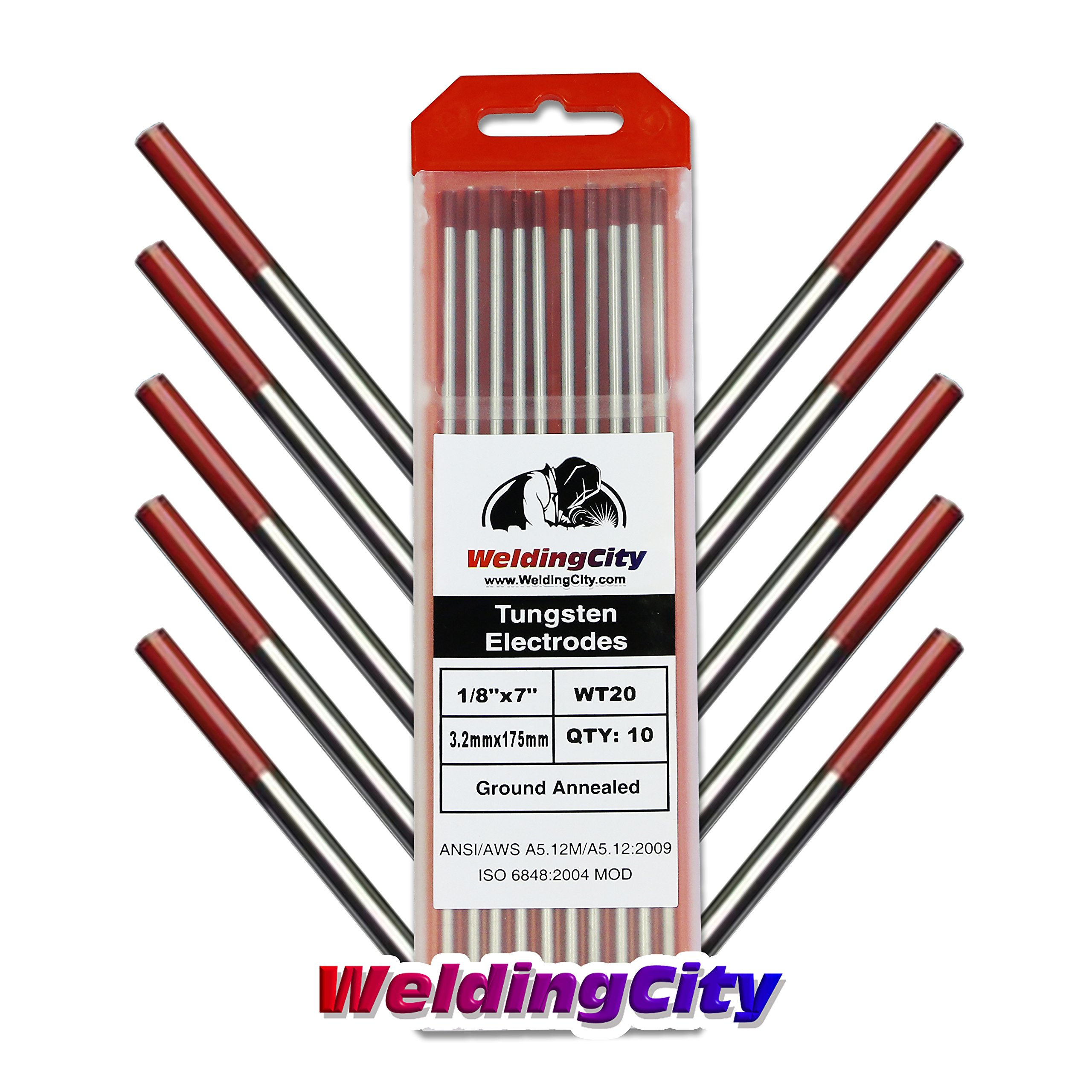 WeldingCity 10-pk Premium TIG Welding Tungsten Electrode Rod 2.0% Thoriated (Red, EWTh20) 1/8'' x 7''   10-pcs by WeldingCity