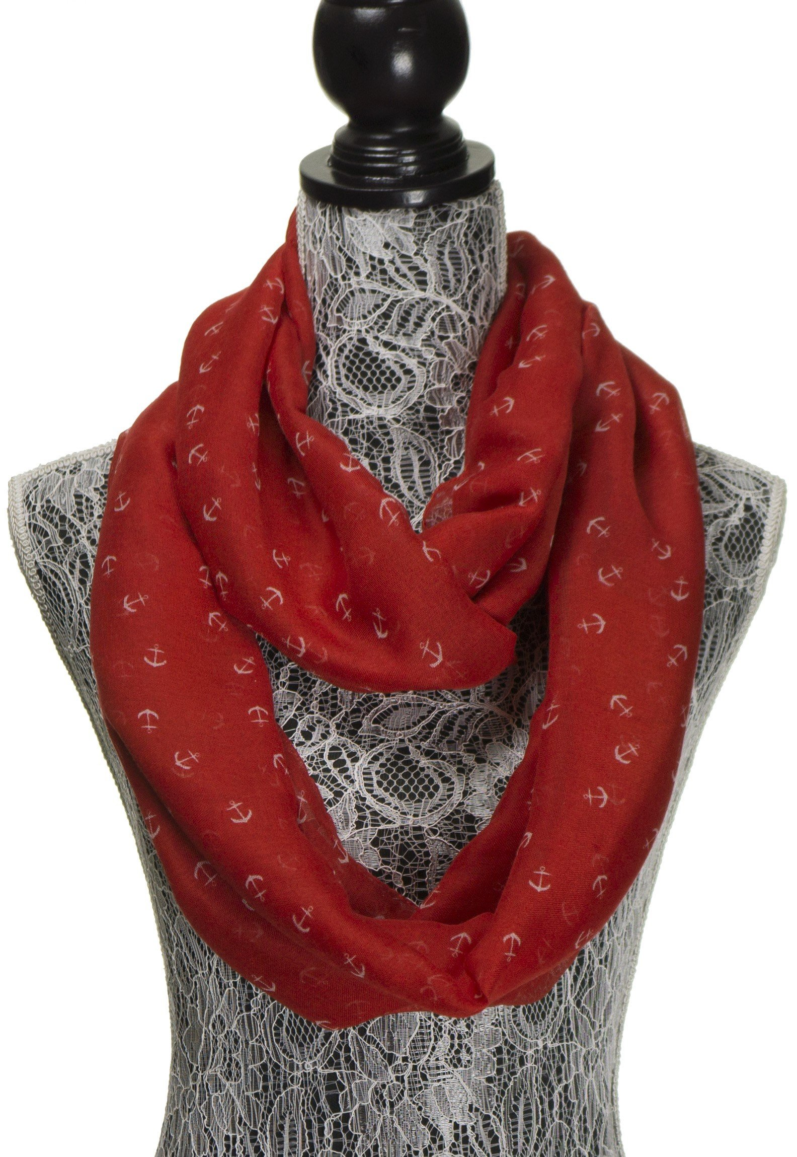 Scarfs for Women - Anchor Cute Sheer Tube Nautical Cowl Loop Circle Scarf - Lightweight Fashion Infinity Womens Scarves (Red)