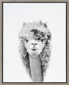Kate and Laurel Sylvie Lionel Blotchy Alpaca Framed Canvas Wall Art by Simon Te of Tai Prints, 18x24 Gray, Adorable Animal Home Decor