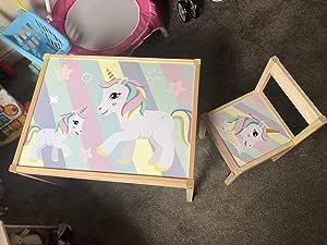 MakeThisMine - Juego de Mesa y 1 Silla para niños Personalizable con Nombre de Madera Grabado con diseño de Unicornio y Estrellas de arcoíris: Amazon.es: Hogar