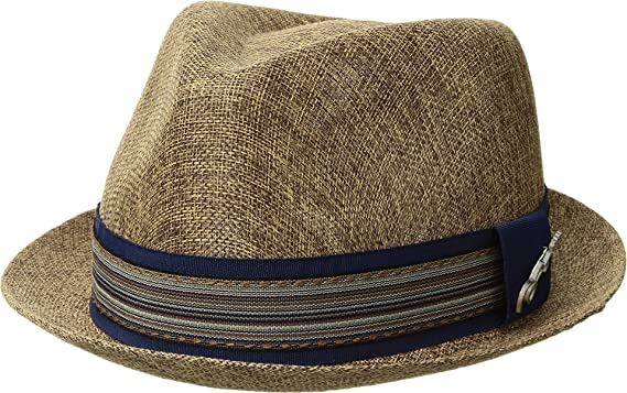 06e9cb64 Image Unavailable. Image not available for. Color: Carlos by Carlos Santana  Mens Polyester Sinamay Pinch Front Fedora Brown ...