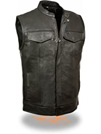 Milwaukee Leather Men's Open Neck Snap/Zip Front Club Style Vest (Black, Large)