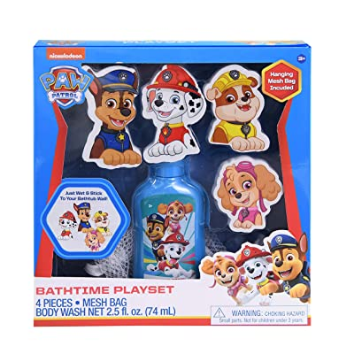 Paw Patrol Bathtime Playset Combo Pack, 2.5oz Kids Body Wash with Foam Decals of Chase, Marshall, Rubble, & Skye Cartoon Characters Set & Hanging Mesh Bag, Kids Shower Gel Kit Toys for Fun Bath Time: Toys & Games