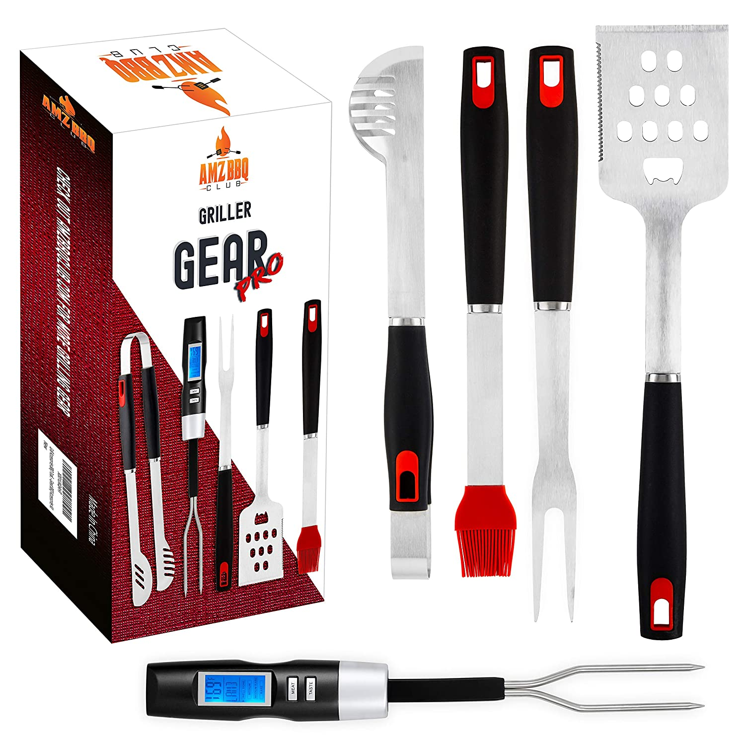 Ultimate BBQ Grill Tools Set with Meat Thermometer 4 Stainless Steel Grilling Accessories – 5 Piece BBQ Accessories Set Includes Tongs, Spatula, Fork, Silicon Basting Brush and Instant Read Digital