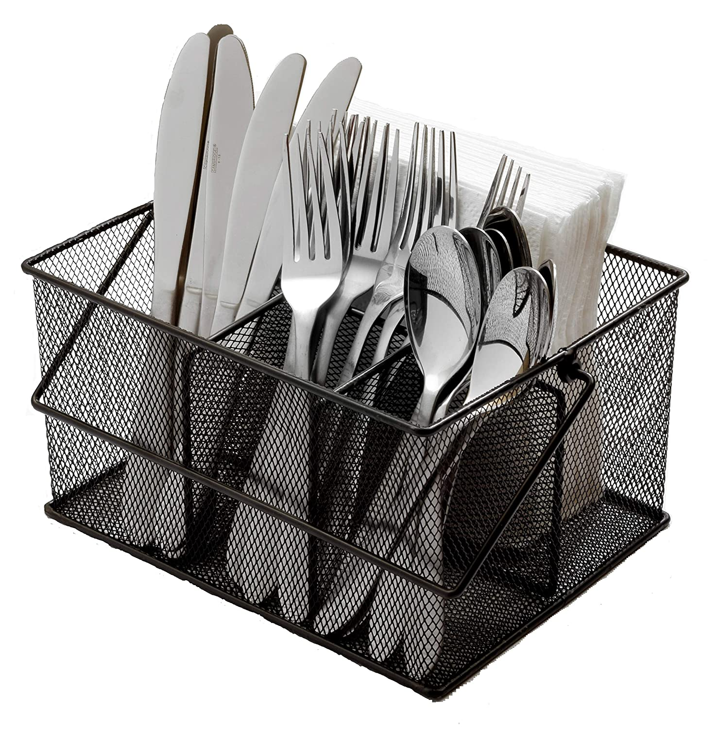Ashman Silverware Caddy - Flatware, Cutlery, and Utensil Organizer with Napkin Holder & Condiments for Kitchen, Dining, Outdoors, Picnics and Parties - (Black Steel Mesh) AshmanOnline AM6894