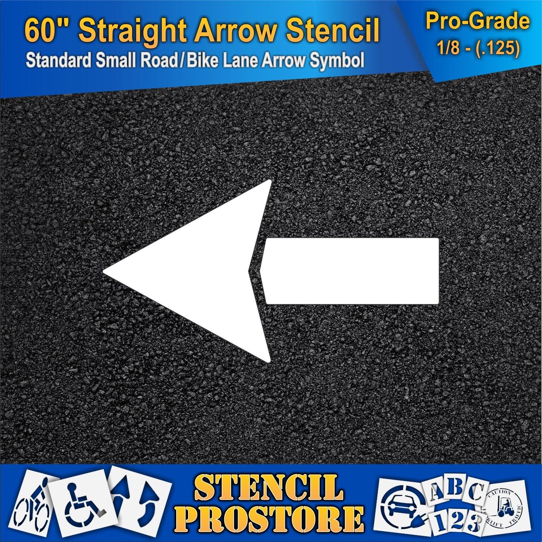 Parking Lot Stencils - 60 inch - Straight Arrow Stencil - 60'' x 33'' with 12'' Wide Tail Stroke - 1/8'' (128 mil) - Pro-Grade