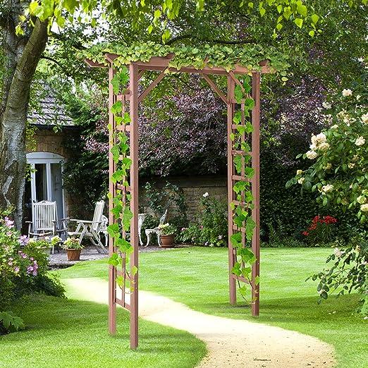 Festnight - Arco de Madera para jardín o Patio, Soporte para Plantas trepadoras, Enrejado para Rosas, Color Negro, decoración para el jardín o el Patio: Amazon.es: Jardín