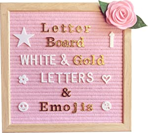 Pink Felt Letter Board 10x10 Inches – Changeable Message Board Includes Pink Felt Flower, 335 White Letters & Emojis, 126 Shiny Gold Letters & Emojis, Wall Hanging Hook, Oak Frame, Canvas Bag