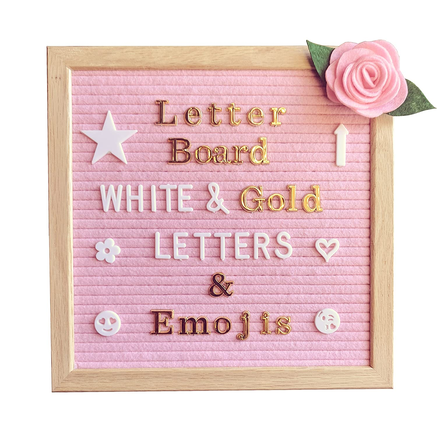 Pink Felt Letter Board 10x10 inches – Changeable Message Board Includes Pink Felt Flower, 335 White Letters & Emojis, 126 Shiny Gold Letters & Emojis, Wall Hanging Hook, Oak Frame, Canvas Bag Heart and Soul