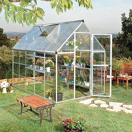 Palram - Invernadero de aluminio (6 x 10 cm), color plateado: Amazon.es: Jardín