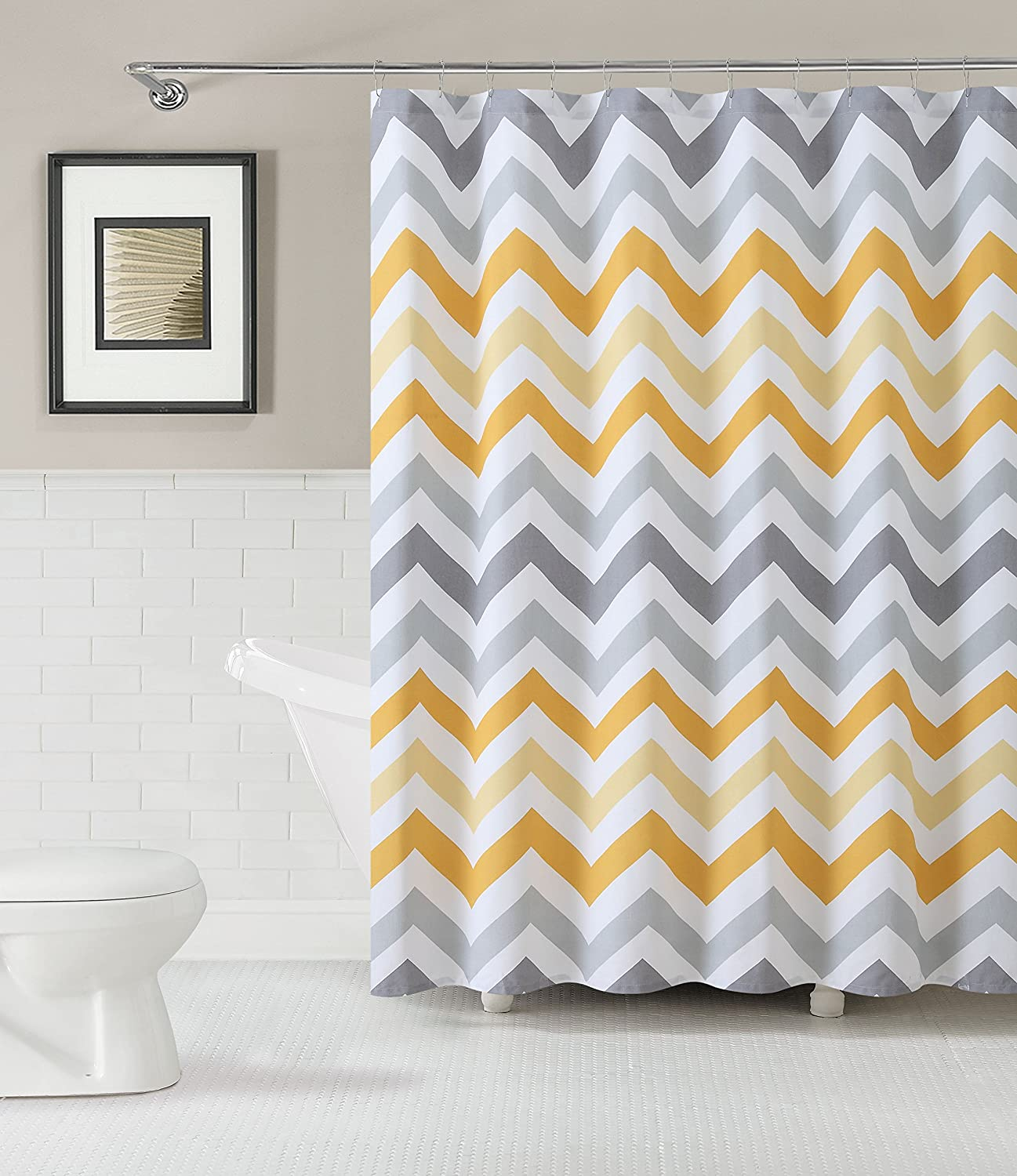 Yellow and gray chevron shower curtain - Amazon Com Goodgram Chevron Cotton Fabric Shower Curtain Assorted Colors Plum Home Kitchen