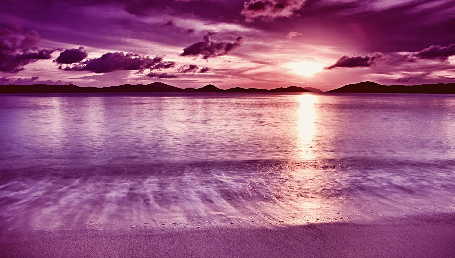 Large Purple Canvas Art Sunset Beach 36 X 20 Inches Mounted And Ready To Hang Amazon Co Uk Kitchen Home
