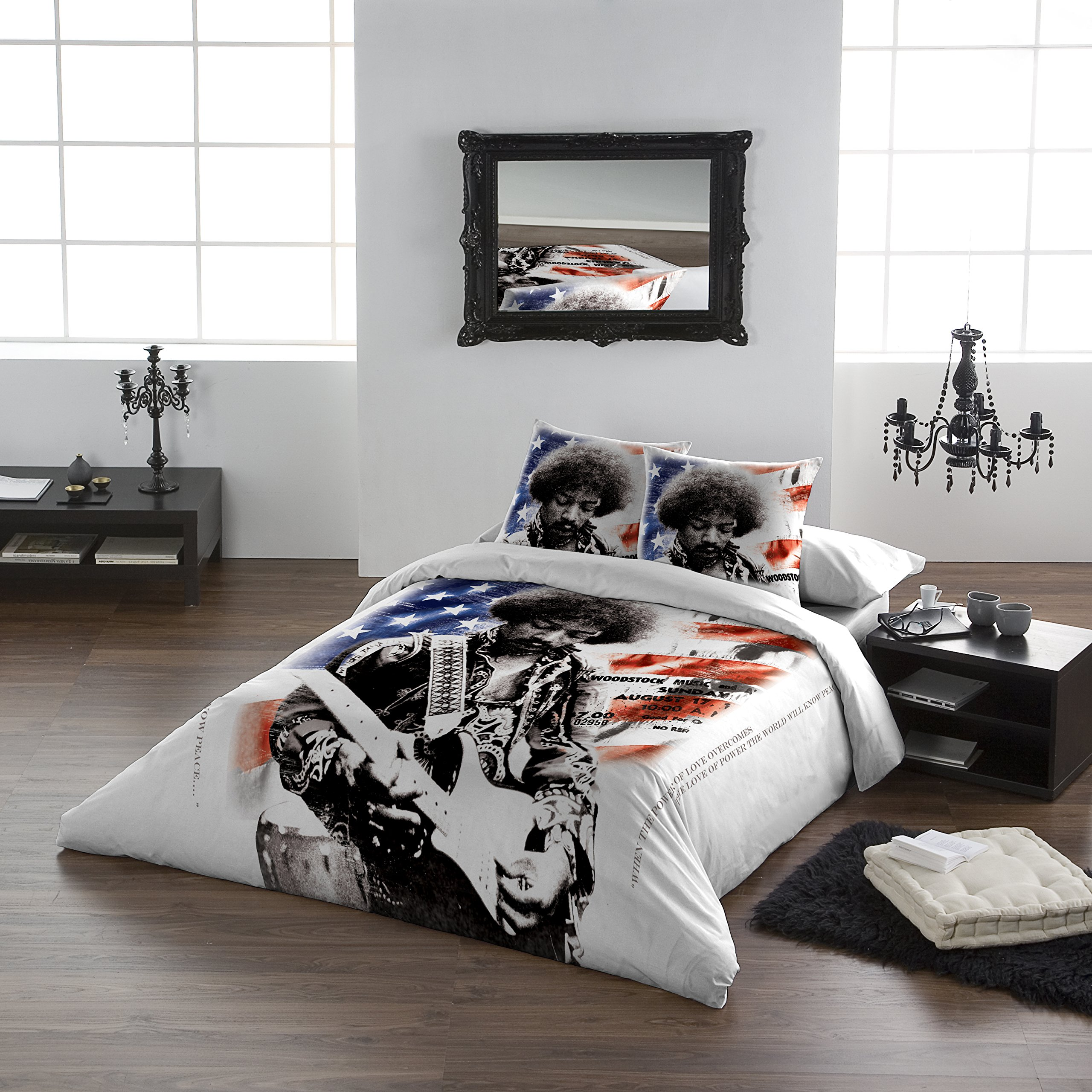 Jimi Hendrix - LOVE POWER - Duvet & Pillowcase Covers Set for Queensize Bed by Wild Star Home (Image #1)