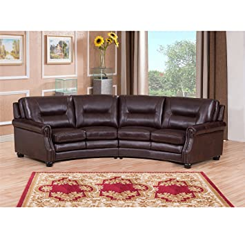 Exceptionnel Sofaweb.com Penn Chocolate Brown Curved Top Grain Leather Sectional Sofa