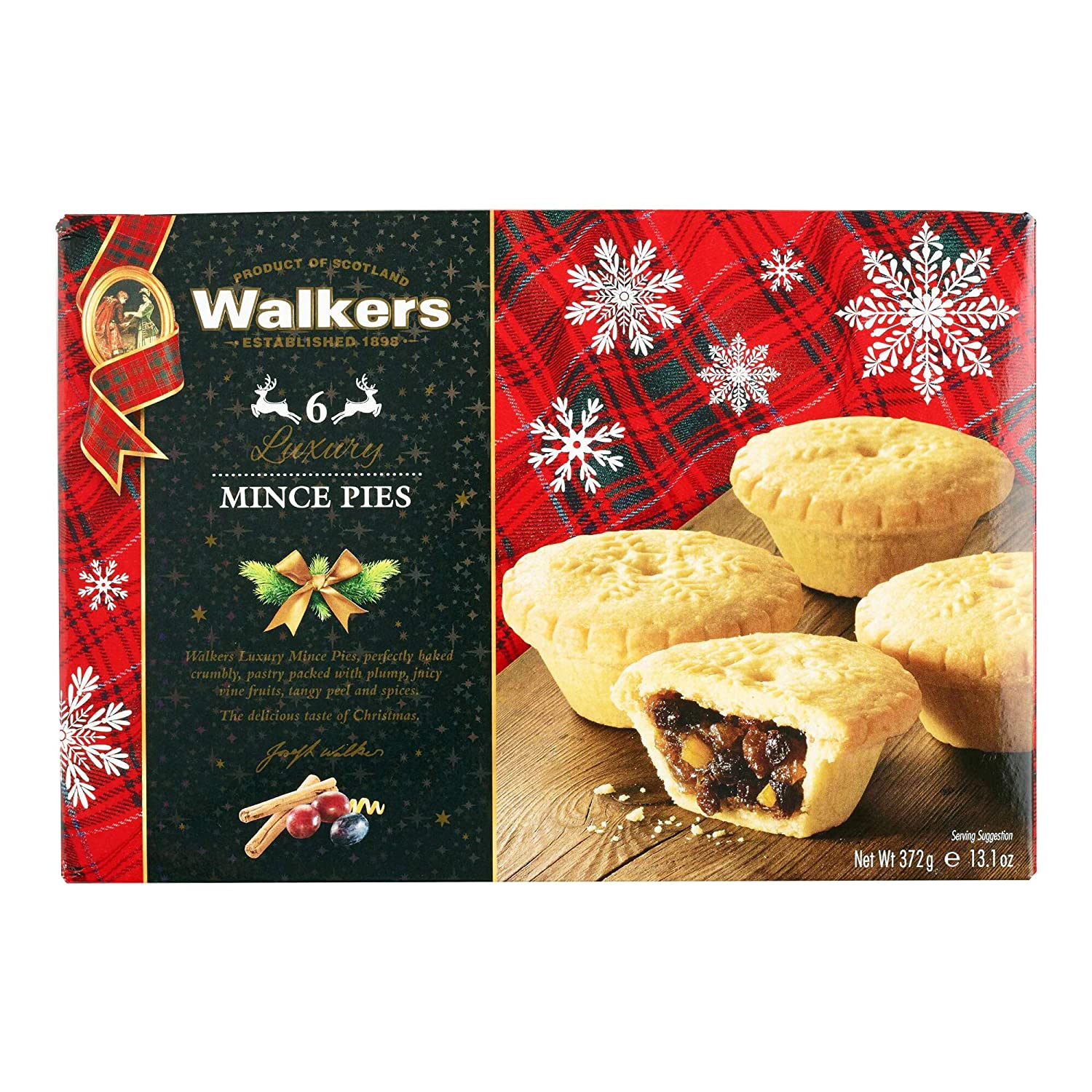 Holiday Mini Mincemeat Tarts - 1 Box, 6 Pieces Luxury Mincemeat Inside, 13.1 Ounce | Buttery Pie Pastry | Perfect Pie for Holidays, Birthdays | by Walkers