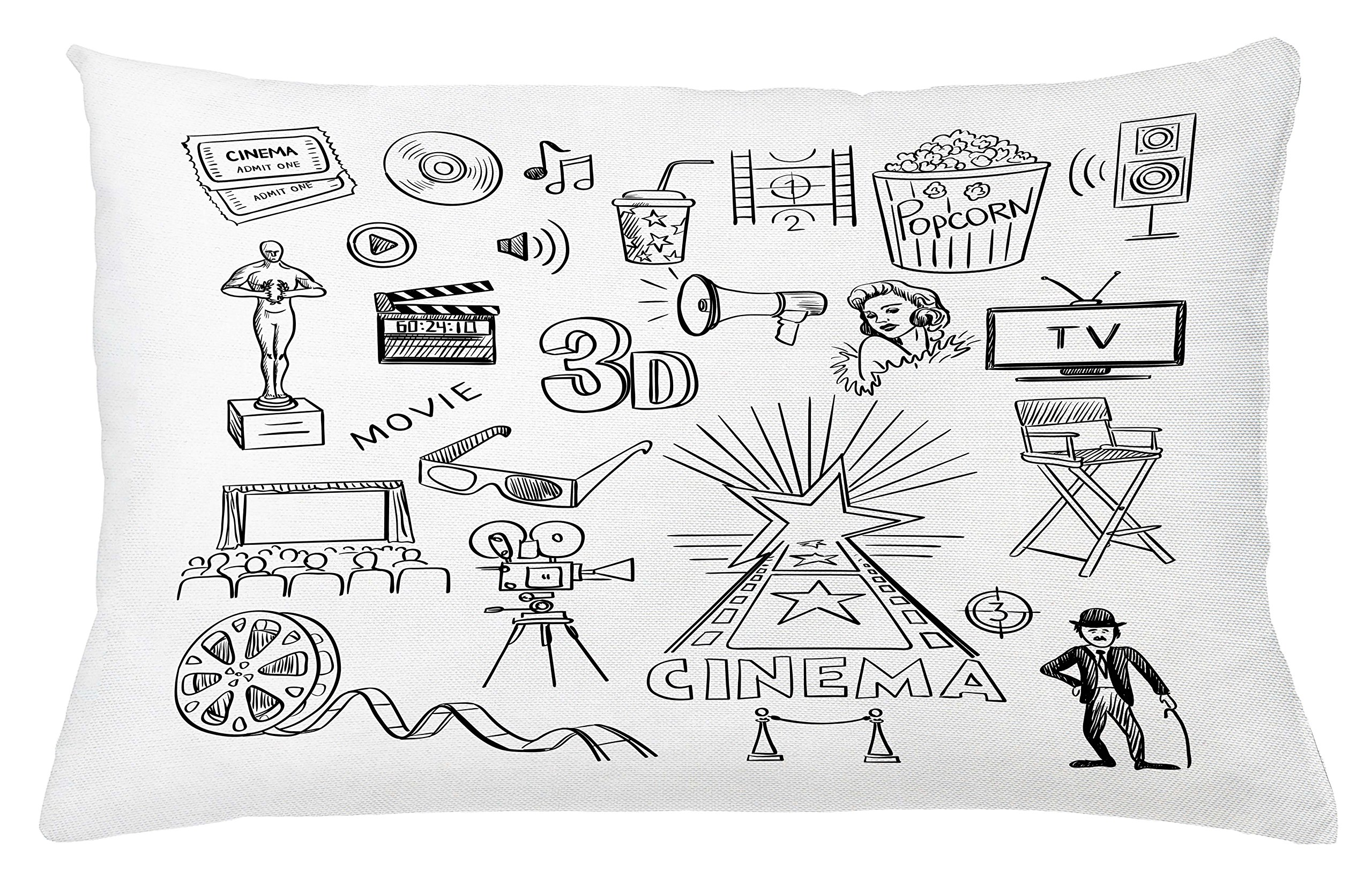 Ambesonne Movie Theater Throw Pillow Cushion Cover, Hand Drawn Symbols of Hollywood Oscar 3D Glasses Sketch Style Arrangement, Decorative Square Accent Pillow Case, 26 X 16 inches, Black White
