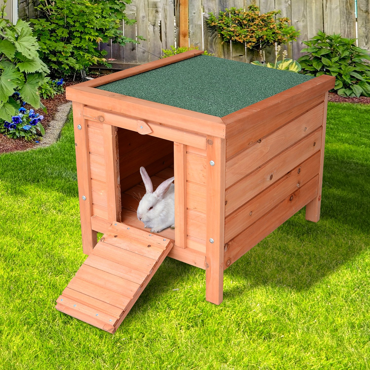 PawHut Small Wooden Bunny Rabbit/Guinea Pig House by PawHut