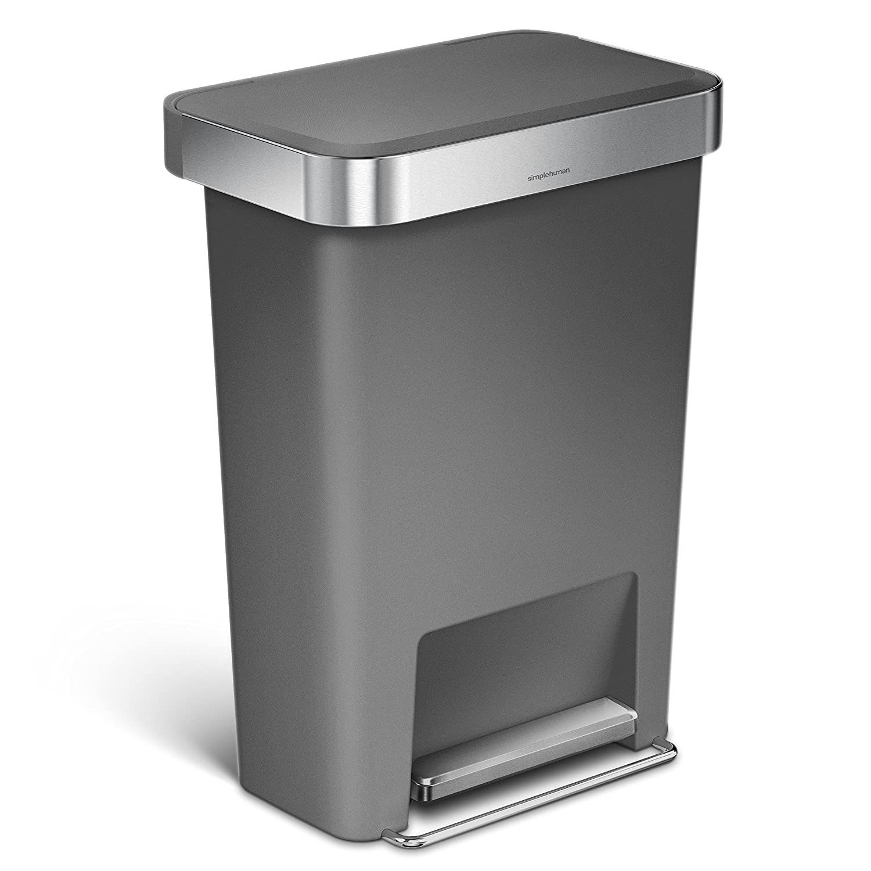 simplehuman Rectangular Step Liner Pocket Trash Can, 45 Liter, Grey Plastic
