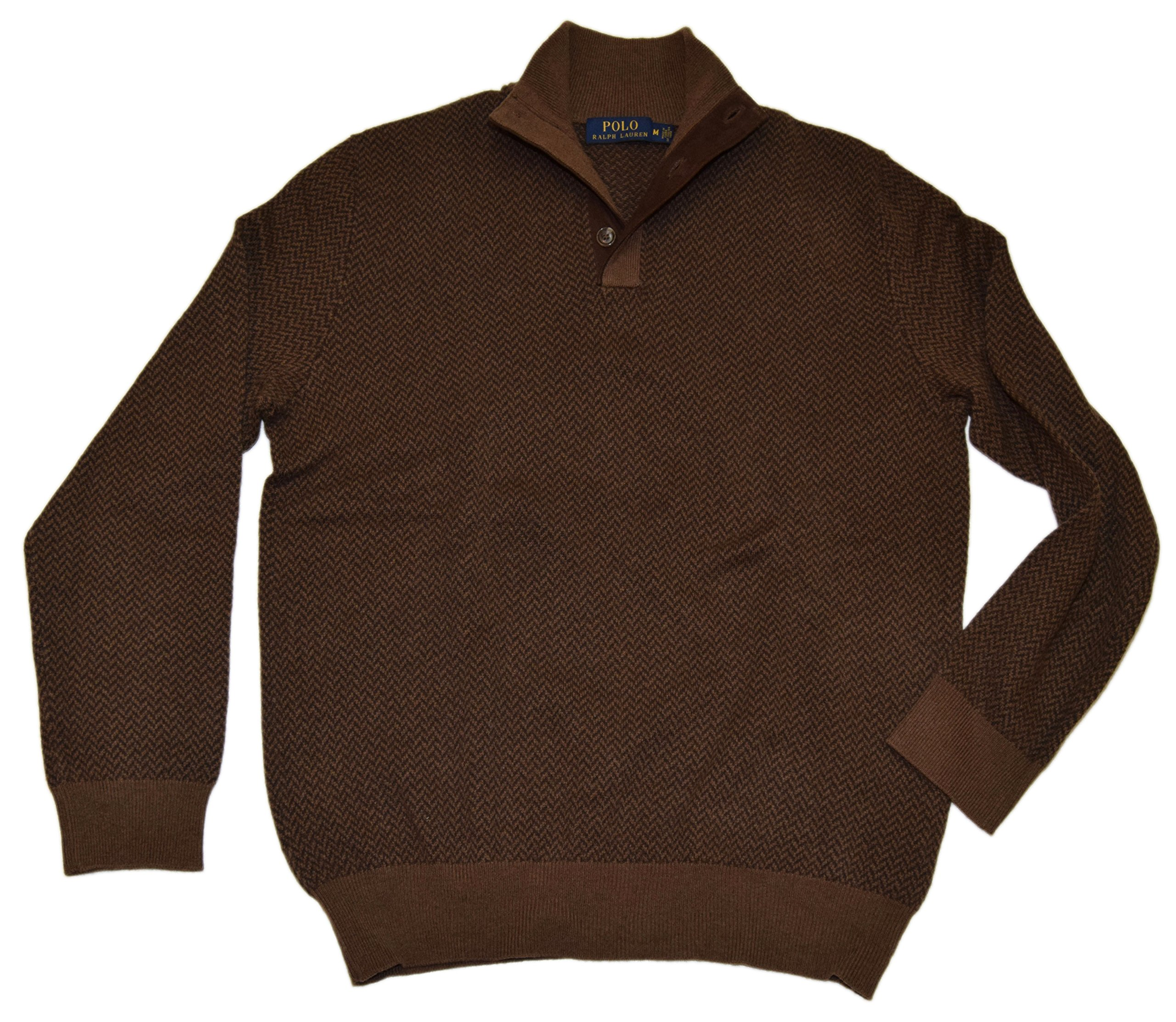 Polo Ralph Lauren Men's Wool Herringbone Sweater (Medium, Browns)