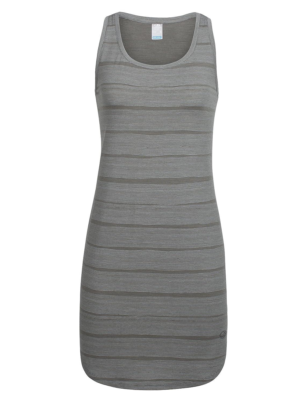 Medium Combed Lines//Metal//Snow Icebreaker Merino Womens Yanni Tank Summer Travel Dress New Zealand Merino Wool