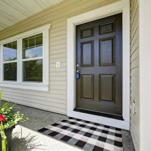 Indoor Doormat Front Door Mat 27.6'' x 43.3'' Non Slip Rubber Backing, Waterproof Floor Mat Low Profile Entryway Rug for Home Entrance, Black and White Buffalo Plaid Rug, Farmhouse Decor