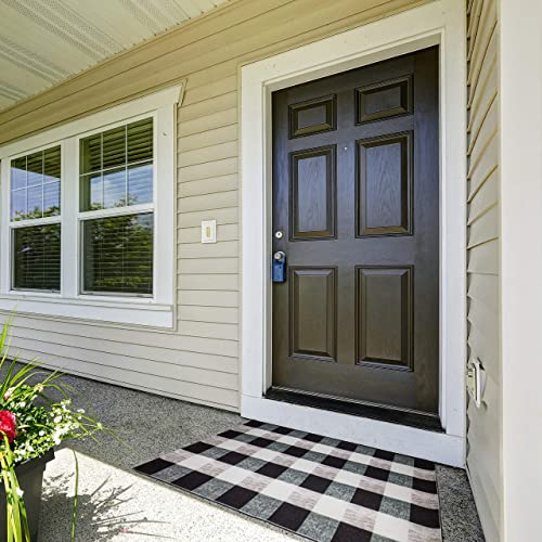 Qua Nevo Black and White Buffalo Plaid Outdoor Rug 27.6 x 43.3 with PVC Rubber Non-Skid Backing Waterproof Entryway Checkered Doormat Farmhouse Porch D cor