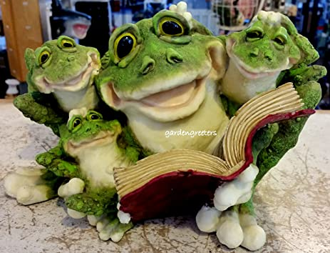FROG FAMILY STATUE FATHER READING TO SONS FROG STATUE FROG FIGURINE