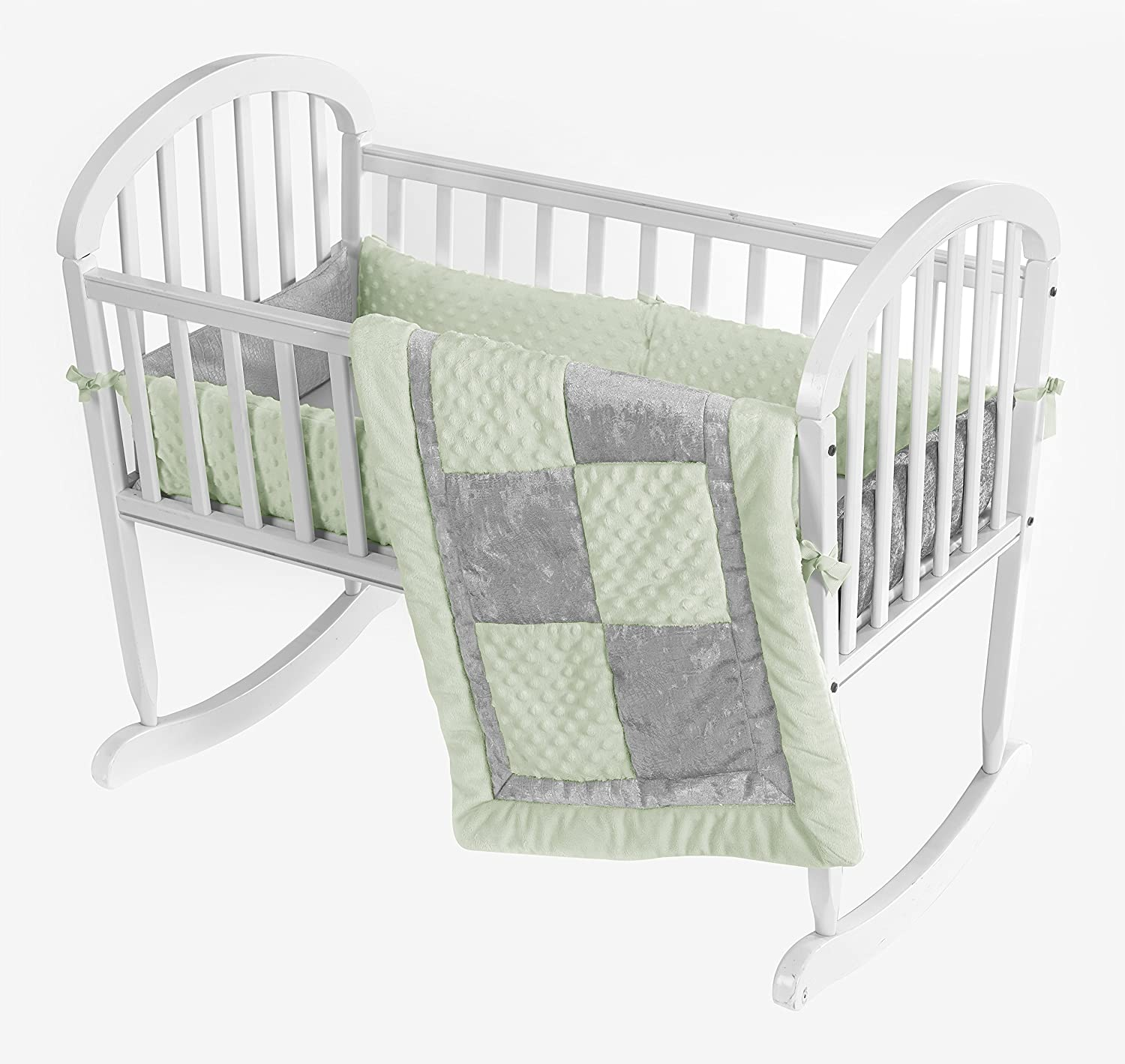 Baby Doll Bedding Croco Minky Cradle Bedding Set, Sage/Grey