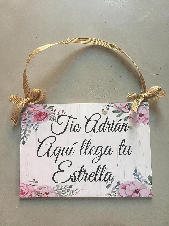 Cartel Aquí Viene la Novia para Bodas con flores rosas ...