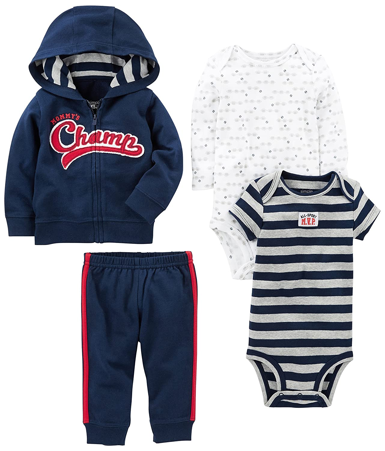 Simple Joys by Carters Baby Boys 4-Piece Jacket, Pant, and Bodysuit Set