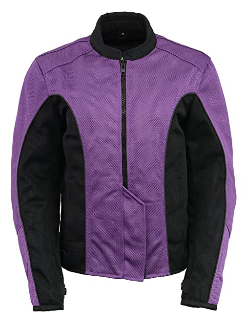 M Boss Apparel BOS22702 Ladies Black and Purple Mesh Racer Jacket with Full Armor Large