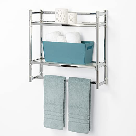 amazoncom zenna home 9012ss 2 tier wall mount bathroom shelf chrome glass home kitchen - Glass Bathroom Shelves