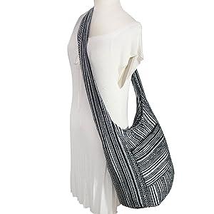 Tonka Cotton Hippie Hobo Bag Sling Crossbody Bag Shoulder Sling Bag Purse Messenger Nepal Cotton (NP14)