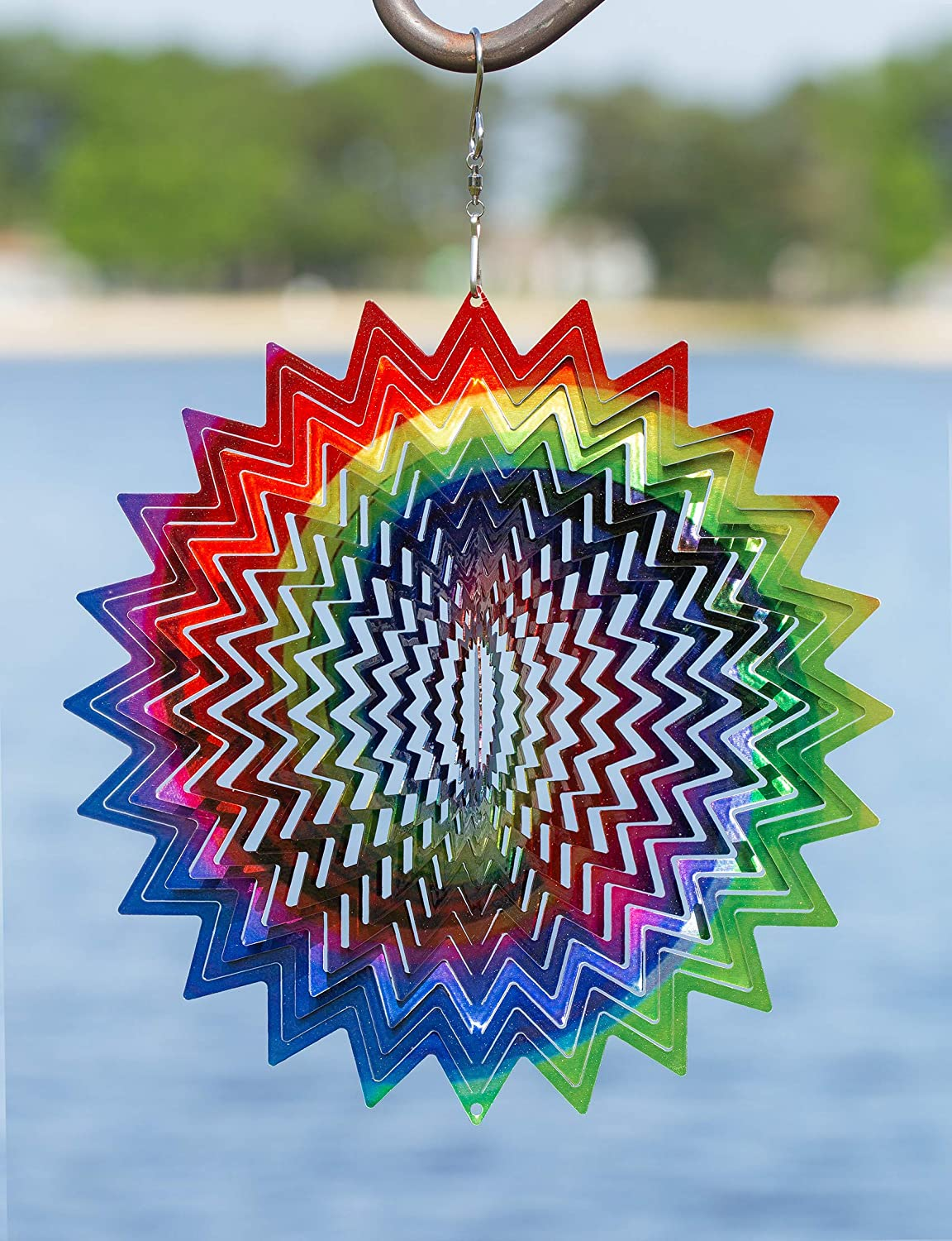 VP Home Kinetic 3D Metal Garden Wind Spinner (Rainbow Star)