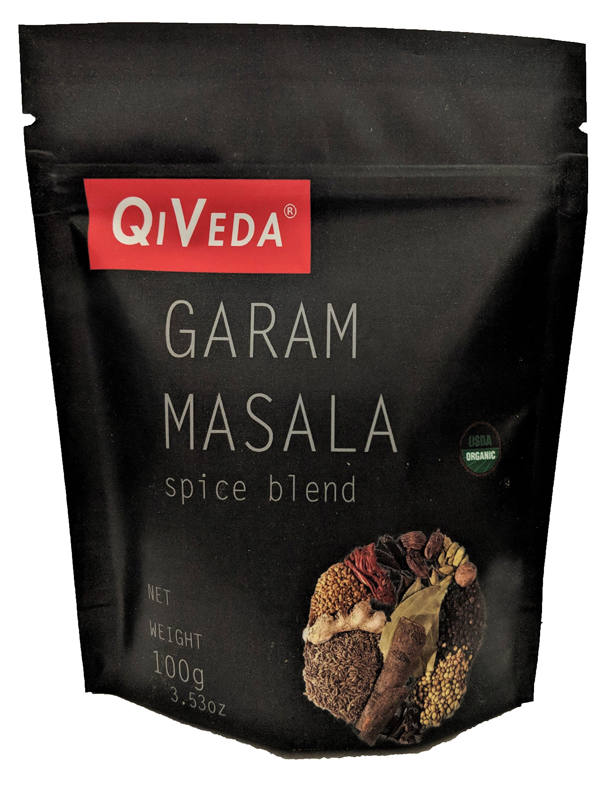 QiVeda USDA Organic Garam Masala 100 gram (3.53 oz) [Salt/Gluten Free]