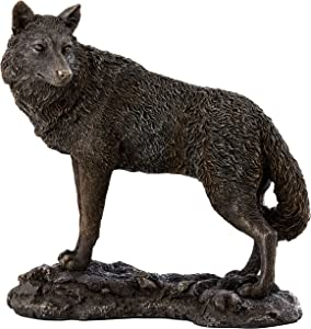 Top Collection Adult Lone Black Wolf Statue - Hand Painted Wild Dog Sculpture in Premium Cold Cast Bronze- 9-Inch Collectible Canine Animal Home Decor Figurine