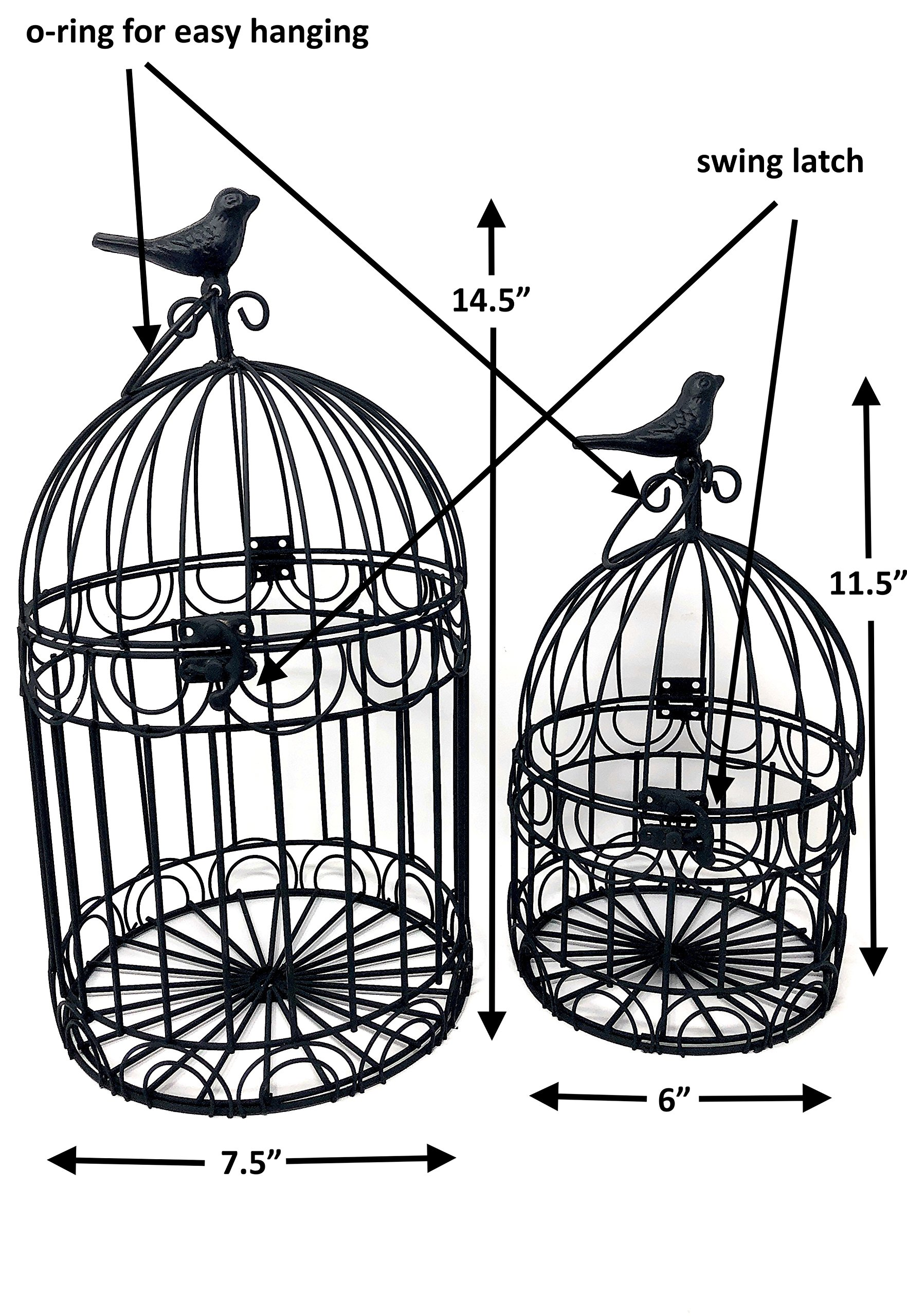 Decorative Bird Cages Wedding Reception Gift Card Holder Centerpiece Garden Ornaments Set of 2 (Black)