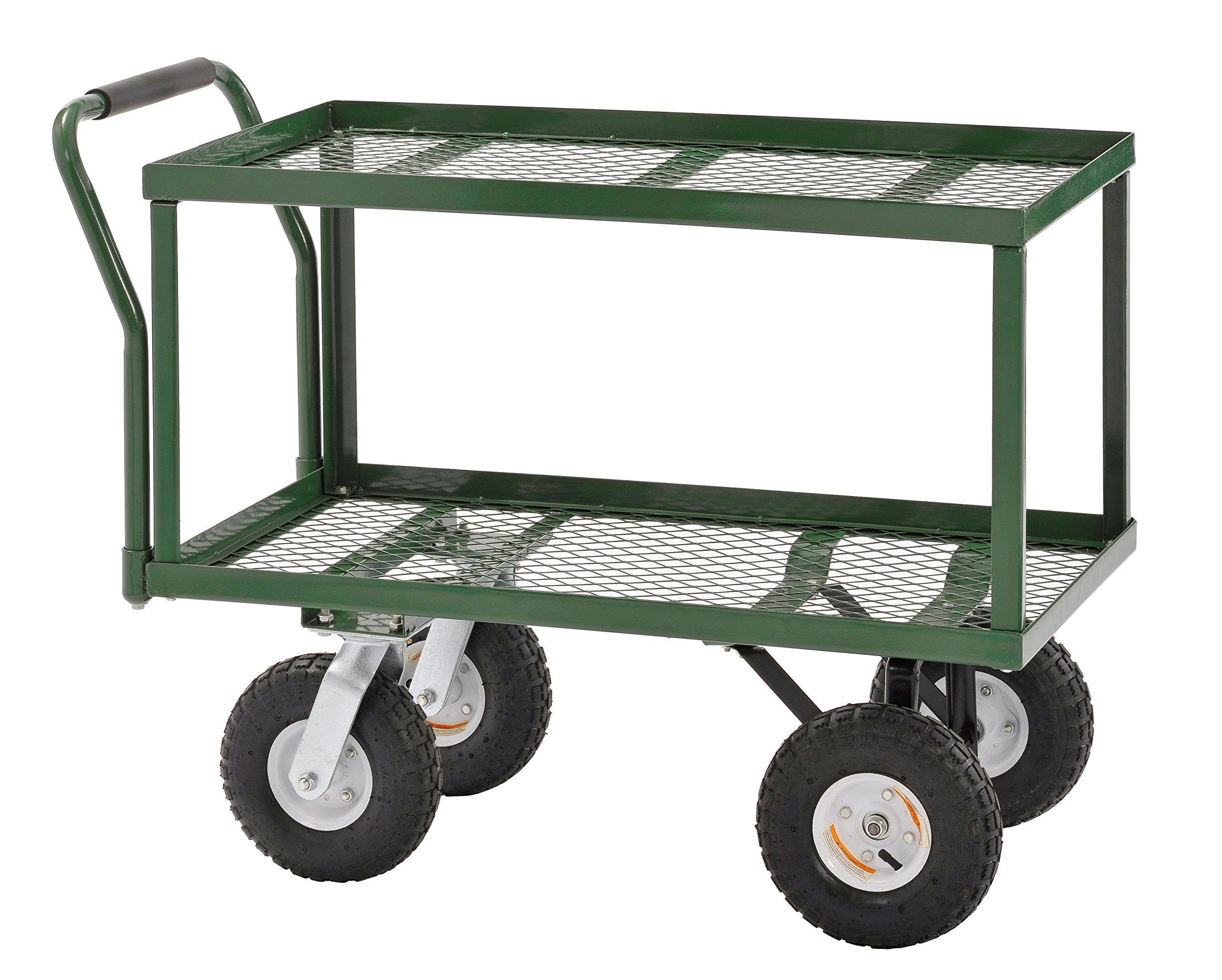 Sandusky TW3820 Green Heavy Duty Steel 2-Deck Flat Wagon, 550 lb. Capacity, 33'' Height x 38'' Length x 20'' Width