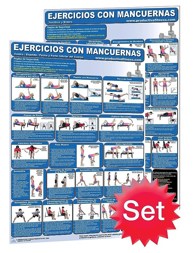 Ejercicios con Mancuernas # 1. - Hombros y brazos y # 2. Centro/Espalda/pecho y parte inferior del cuerpo - Mancuernas entrenamiento Poster/tabla Set ...
