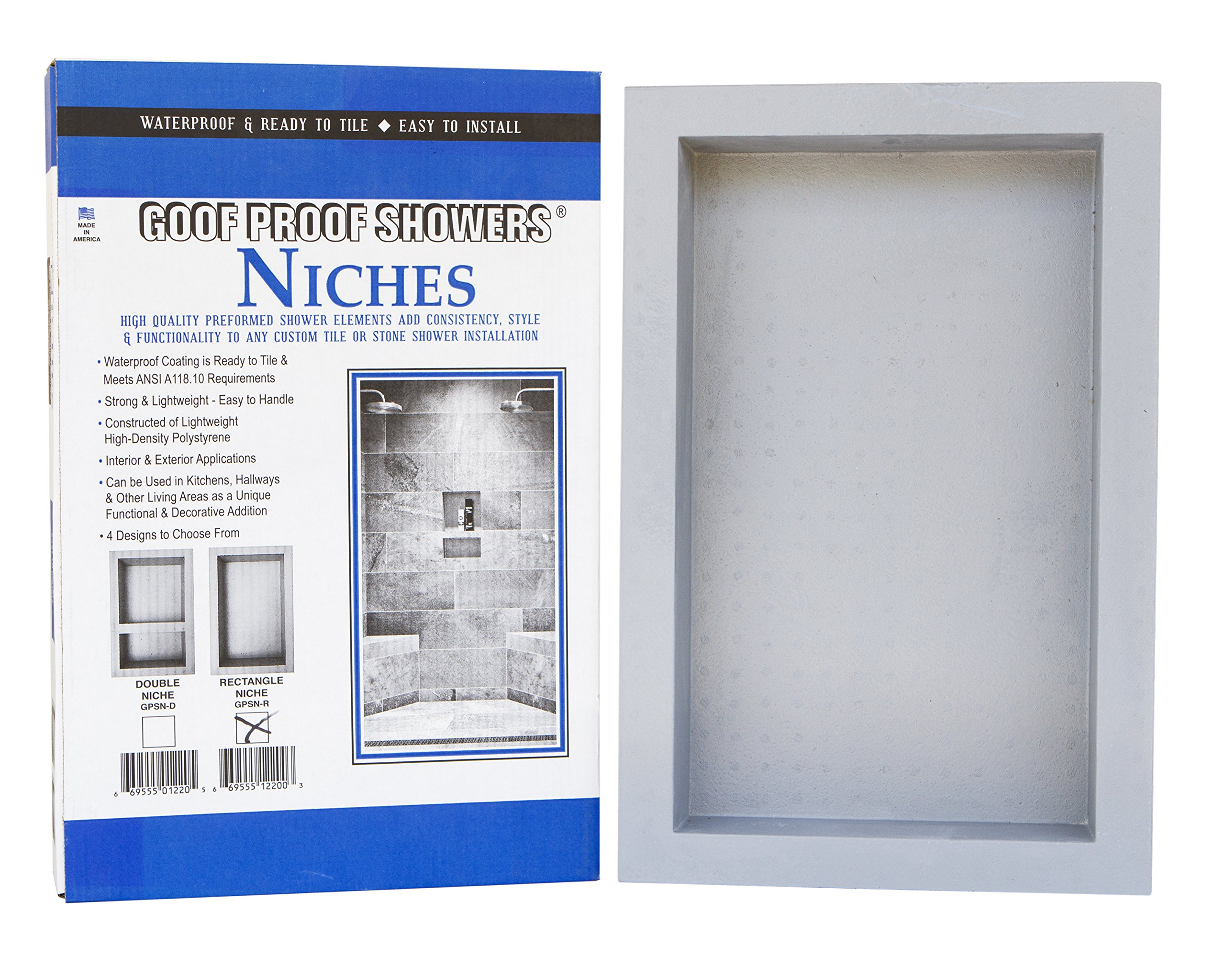 GOOF PROOF SHOWER GPSN-R Rectangle Niche 12x20, White