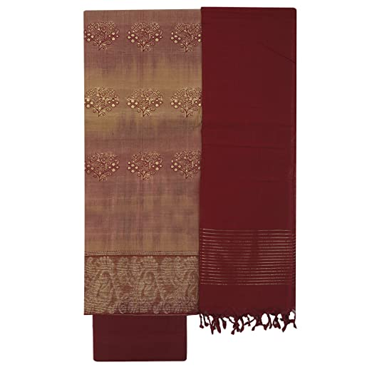 APCO (An Andhra Pradesh Govt. Enterprise) Handloom Traditional Unstitched Chirala Cotton Dress Material For Women (Top, Bottom & Dupatta) Multi coloured